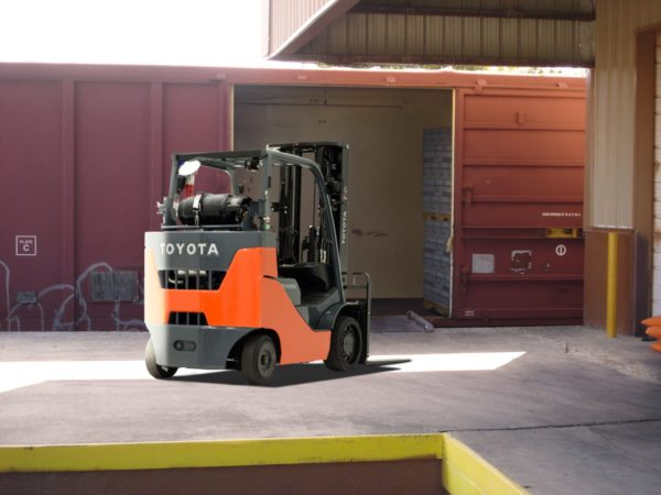 Toyota box car special forklift going into railcar