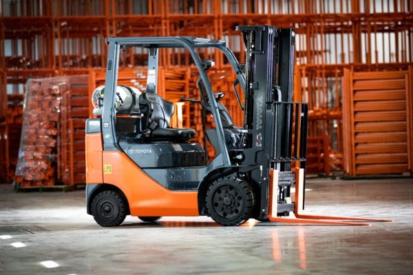 Toyota forklift in empty warehouse
