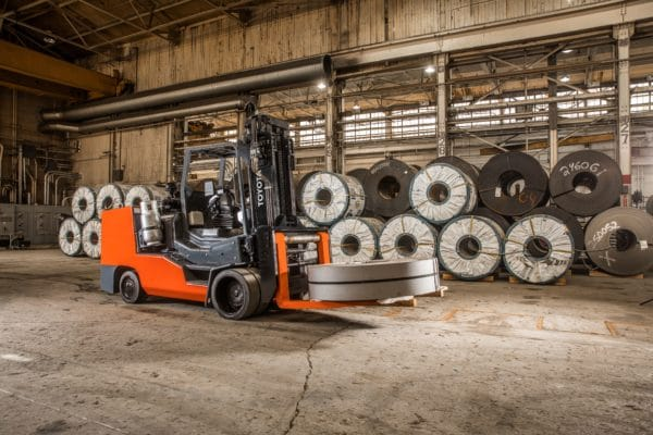 toyota high capacity forklift carrying load