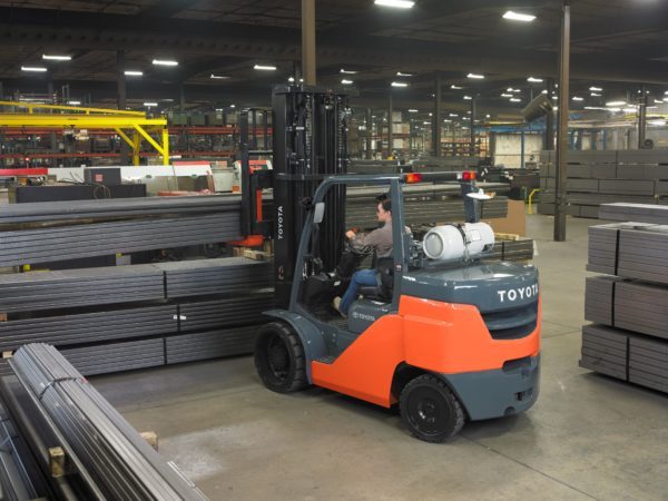 Large Toyota forklift in warehouse