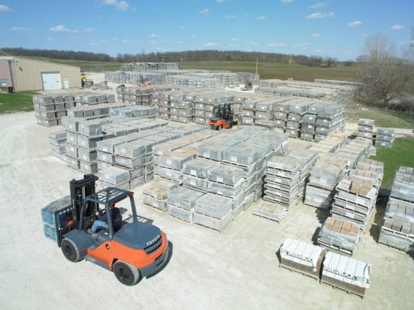 toyota large forklifts in outdoor concrete yard