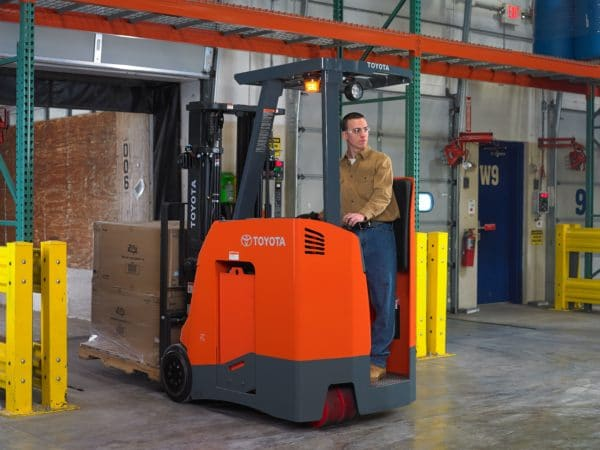 toyota stand up electric forklift loading dock