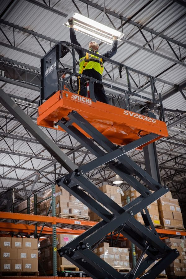 aichi scissor lift indoor warehouse application