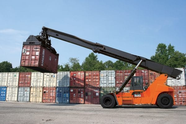 toyota reach stacker lifting container