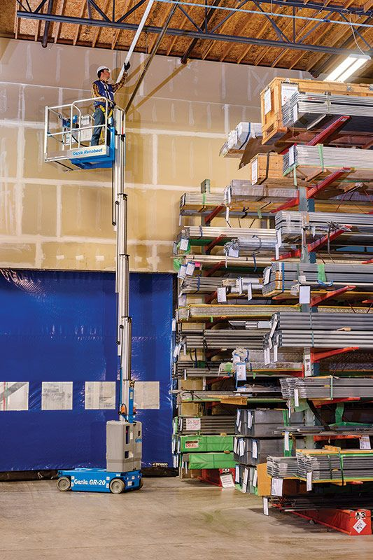 genie runabout gr-20 vertical mast lift application