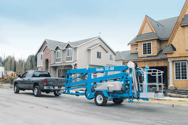 genie tz-50 trailer mounted boom lift application
