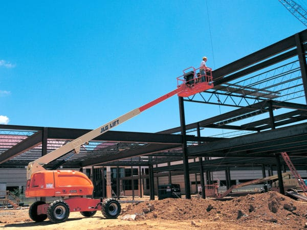 jlg 400s telescopic boom lift construction application