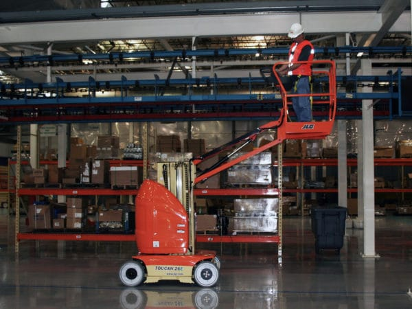 jlg 26e toucan mast boom lift warehouse application